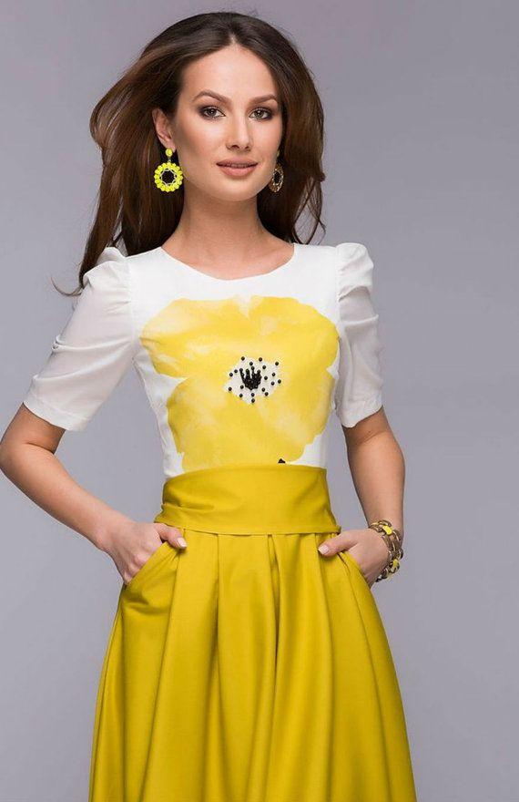 Chic Floor Length High Waist Summer Yellow Skirt by FashionDress8 Women's spring summer fashion maxi skirt outfit idea