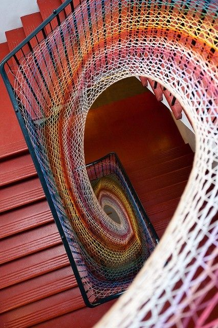 Dovecot Studios Stairwell, design created with wool yarn. Edinburgh, Scotland    Very Fibonacci like!