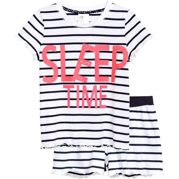 Jersey pyjamas (£15) ❤ liked on Polyvore featuring intimates, sleepwear, pajamas, striped pajamas, striped pjs, short sleeve pajamas, striped jersey and cotton jersey