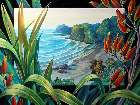 White's Beach Flax - by Irina Velman of Auckland, NZ. Artprints on canvas and paper available from www.imagevault.co.nz