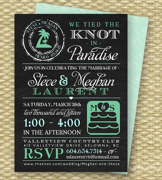 Chalkboard Post Destination Wedding Reception Invitation Tied the Knot in Paradise Destination Wedding Beach Wedding Invite, ANY COLORS on Etsy, $18.00