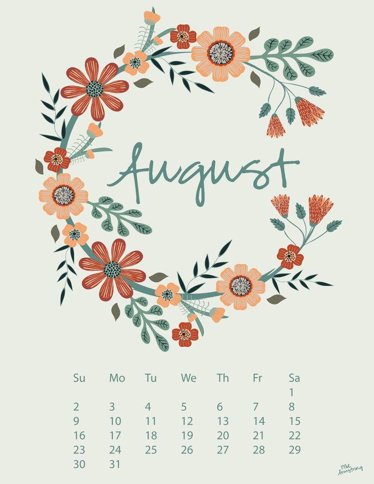 August 2015 Calendar Illustration Floral Surface