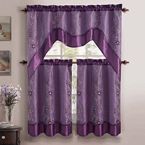 Purple 3 Piece Tier & Valance Kitchen Curtain Set