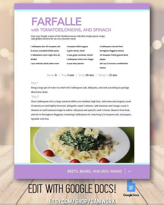 Purple Mint Recipe Book Template Family Create A Cookbook Editable