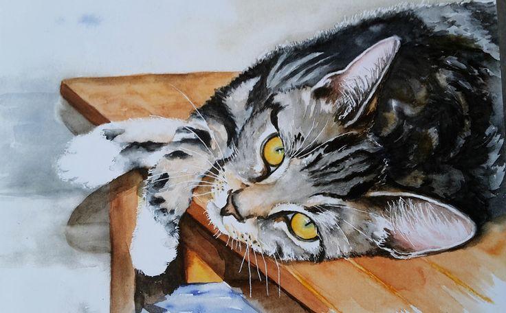 """Digitaldruck - Katze - """"..verschmust"""" hochwertiger Kunstdruck - ein Designerstück von Aranka-1 bei DaWanda"""