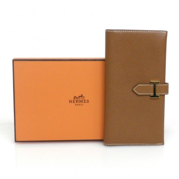 "HERMES BEANT BROWN LEATHER GOLD HD LONG WALLET [Price:*******JPY/*Approximately US $ ****.**]  DIMENSIONS:L 7"" (17.5 cm) ,H 3.4"" (9 cm),  CONDITION:Slightly used, tiny scratches or stains / This is an authentic Hermes Beant long wallet in brown  leather pre-owned with obvious signs of daily use."