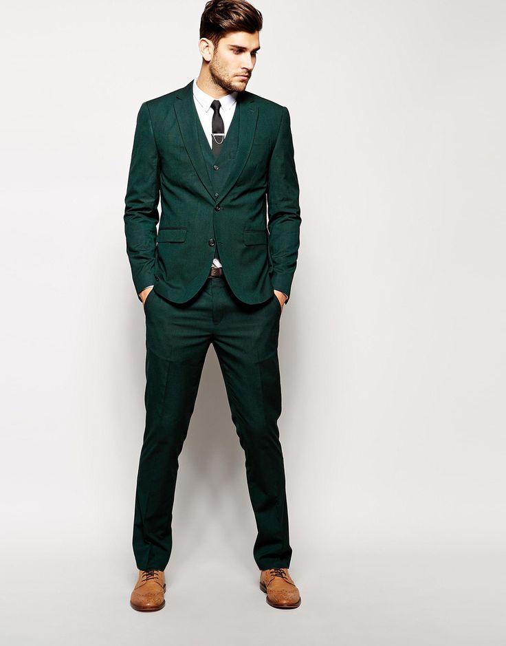 Image 1 ofASOS Slim Fit Suit In Dark Green Pindot