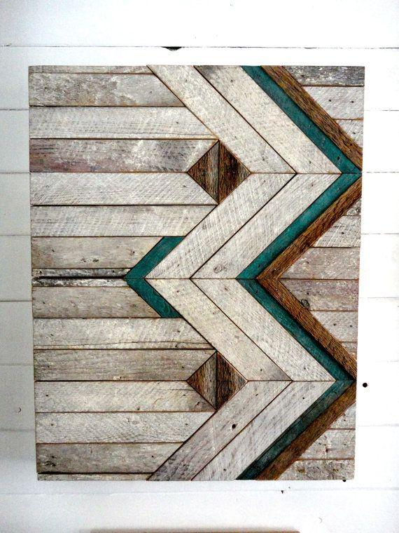 Reclaimed Wood Chevron Wall Hanging.