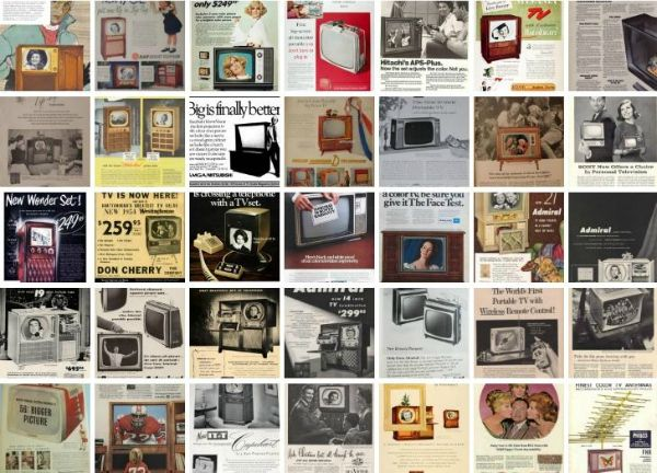 Collection of vintage television ads. Wow, TVs have come a long way!