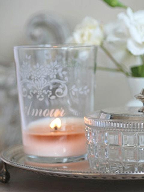 """love - again DIY etching on dollar store votives or glasses * a spin on this is put contact paper down and spraypaint the """"frost"""" aersol sprays they have.."""
