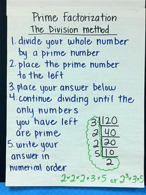 Prime Factorization; 1. Divide your whole number by a prime number 2. Place the…