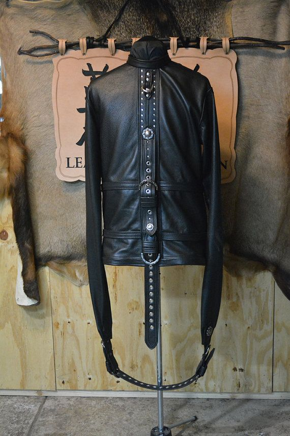 Black Leather Studded Straight Jacket | Leather Black and Jackets