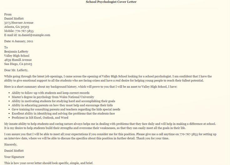 Best school psychologist cover letter school
