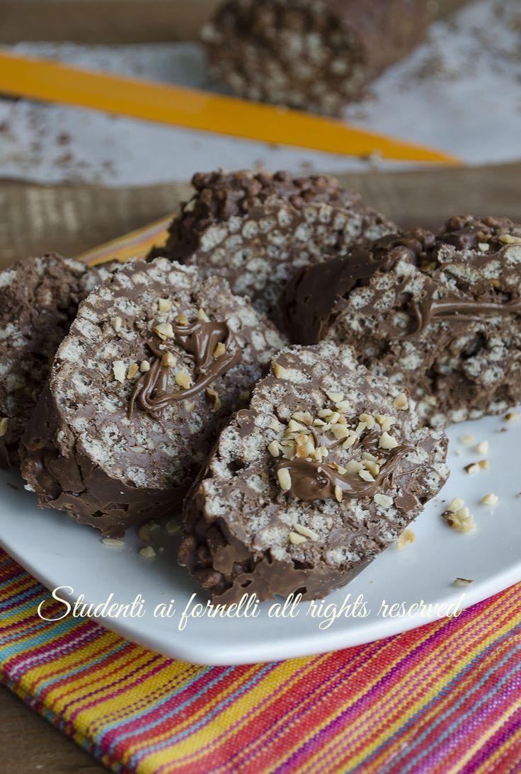 ricetta veloce girelle riso soffiato e cioccolato nutella e nocciole senza cottura estiva merenda