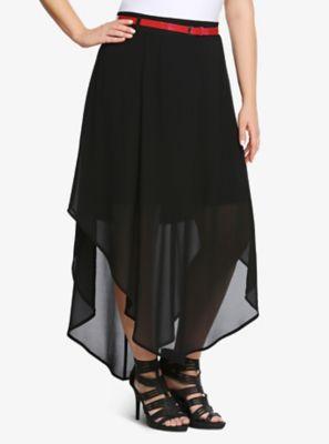 V-Hem Chiffon Maxi Skirt