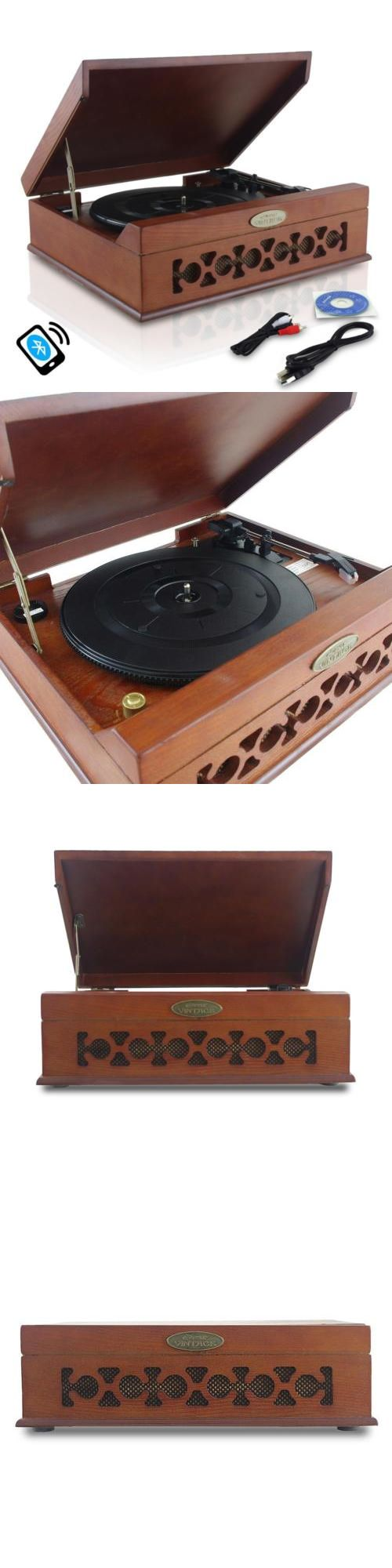 Record Players Home Turntables: New Pyle Pvntt6umrbt Retro Bluetooth Turntable Player With Vinyl Mp3 Recording -> BUY IT NOW ONLY: $99.95 on eBay!