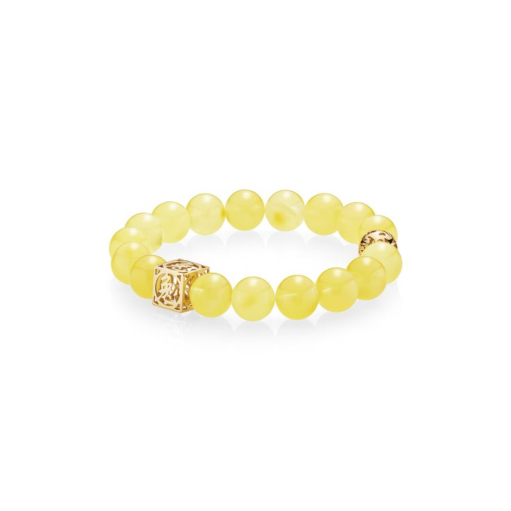 House of Amber - Milky bracelet with gold chams with Chinese zodiac signs from The Zodiac Collection - A celebration to the Chinese New Year