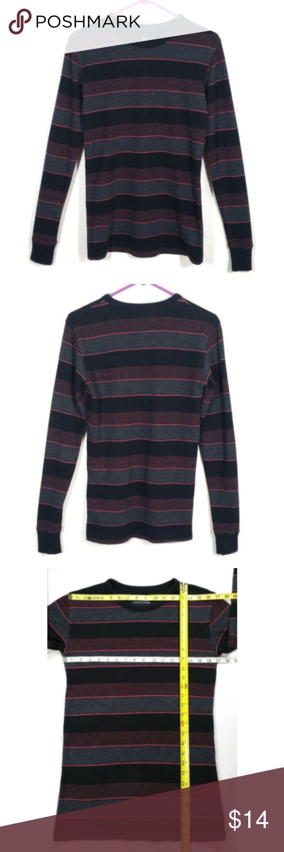 """Shouthouse Men Waffle Knit Thermal Shirt 0840E2 Shouthouse Men Waffle Knit Thermal Shirt  Gently used, no holes or tears.  Minor signs of washing.  Striped pattern with Black, Gray, and a shade Pink closest to """"Punch"""" (see color chart).  Size Small S Approx. measurements laying flat Shoulder to shoulder: 16.5"""" Pit to pit: 17"""" Length: 27.5"""" Sleeve length: 26.75""""  SKU 0840/9/CLE2 Shouthouse Shirts Tees - Long Sleeve"""