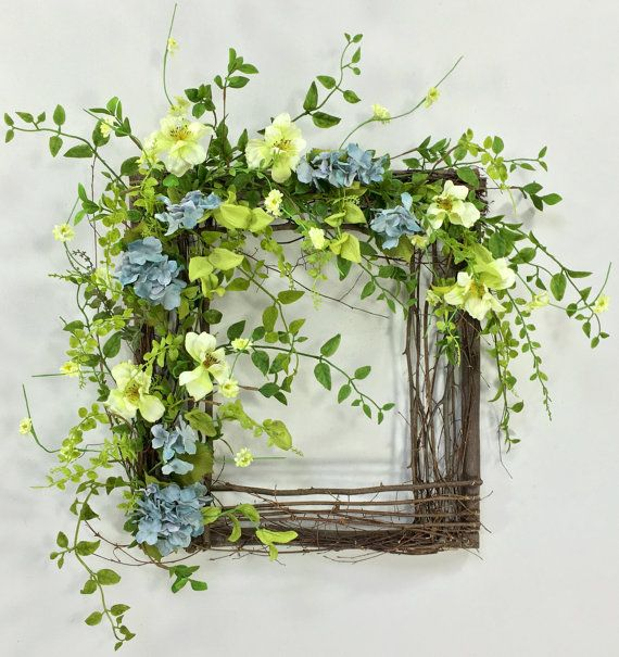 Spring Wreath, Hydrangea Wreath, Square Wreath, Wispy Wreath, Summer Wreath…