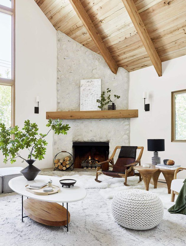These Modern Fall Decor Ideas Are Far From Traditional Hunker Living Room Scandinavian Mountain Living Room Fall Living Room Decor