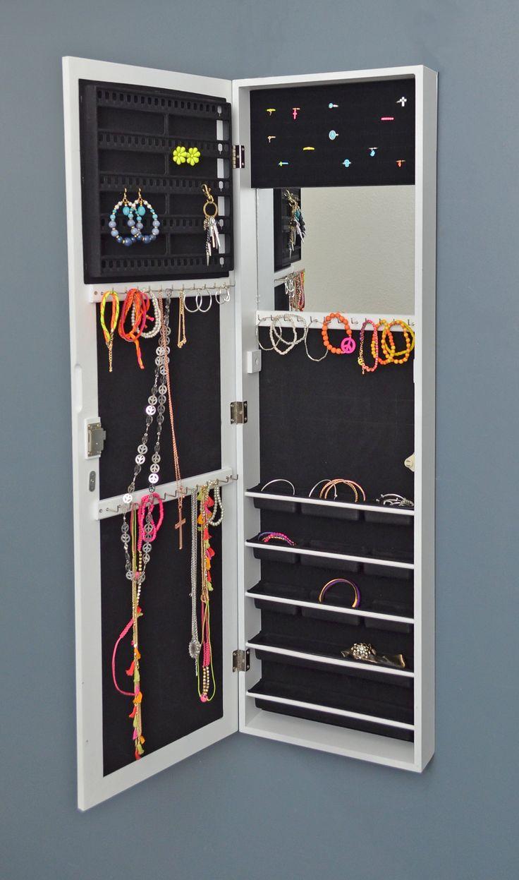 Armadio gioielli con specchio casetta in piedi specchio gioielli cabinet gioielli petto di cassetti - per montaggio a muro e porta - con specchio interno - in bianco: Amazon.it: Casa e cucina