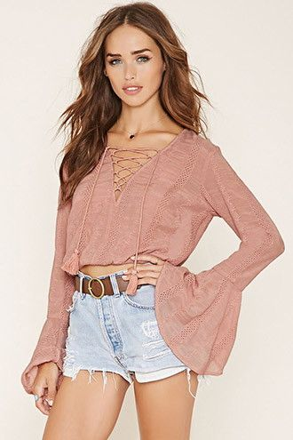 FOREVER21 Women's  Lace-Up Peasant Top #festival #boho