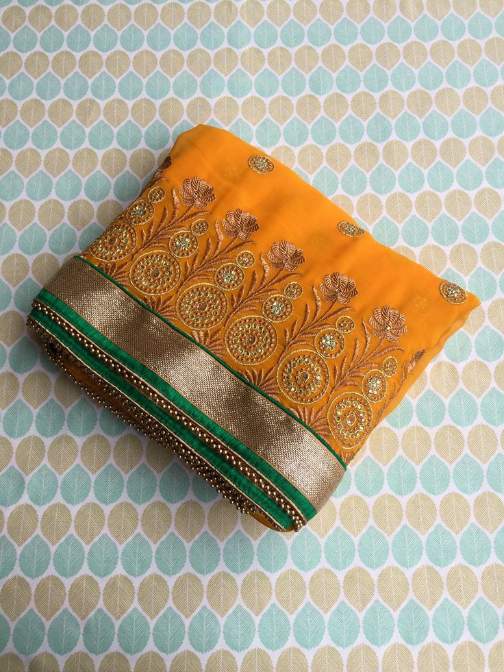 Yellow and Green Georgette Jacquard (Beads in Border) Saree with Blouse