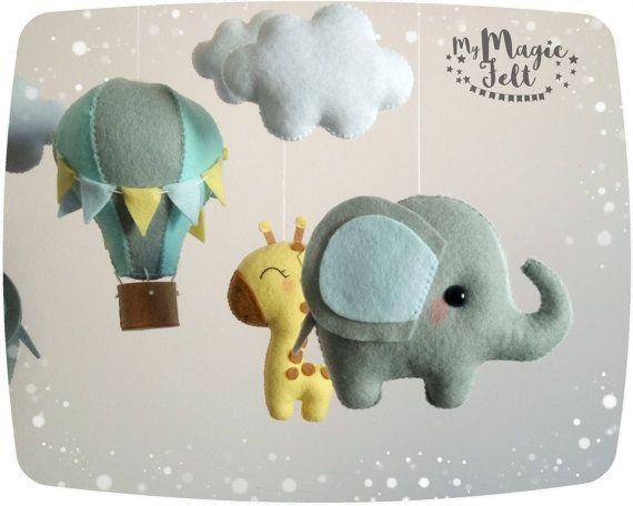 Baby mobile elephant and giraffe Baby mobile safari by MyMagicFelt