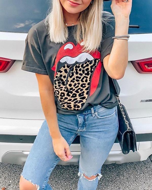 Rolling Stones mouth cheetah leopard print tongue Ladies/' Long Sleeve Tee