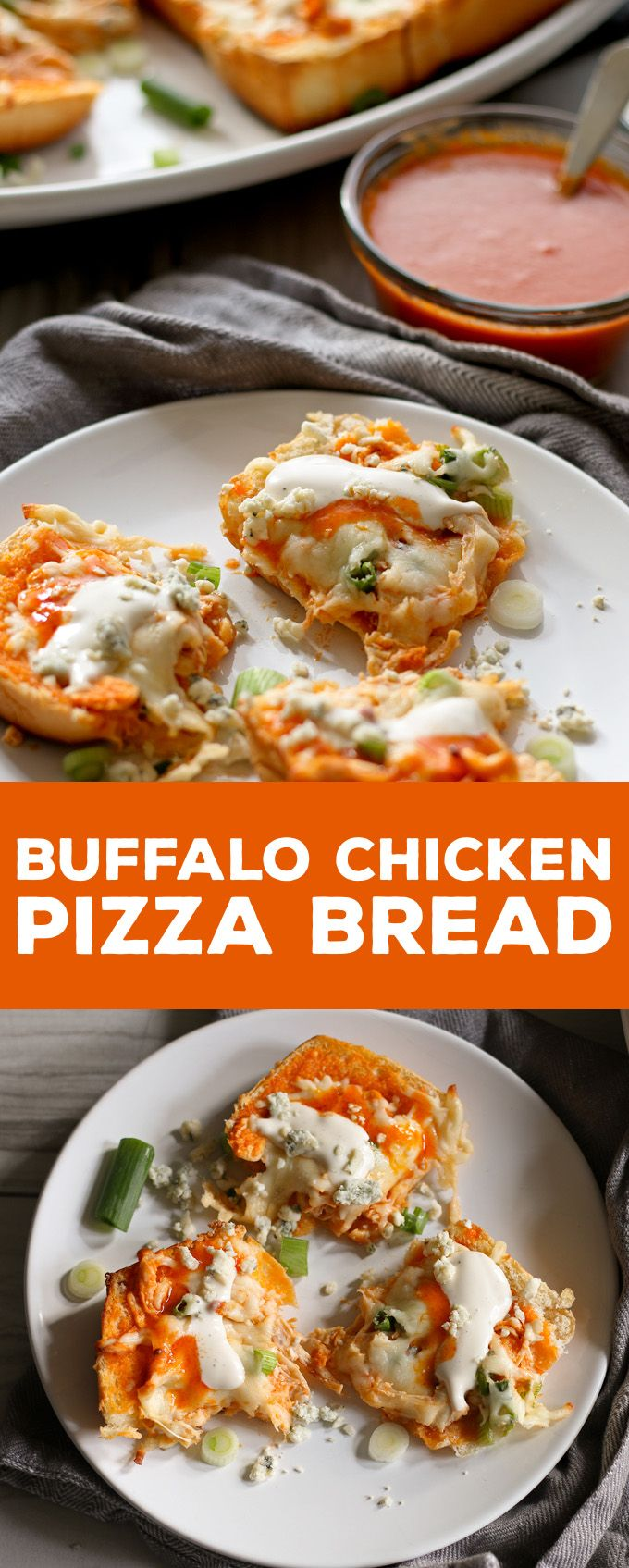 This buffalo chicken pizza bread recipe is going to be a hit at your next party! It's made with KING'S HAWAIIAN® Sweet Bread Rolls for easy eating and is the perfect appetizer or lunch! | honeyandbirch.com http://lynk.to/LU07S #HostWithKH #ad