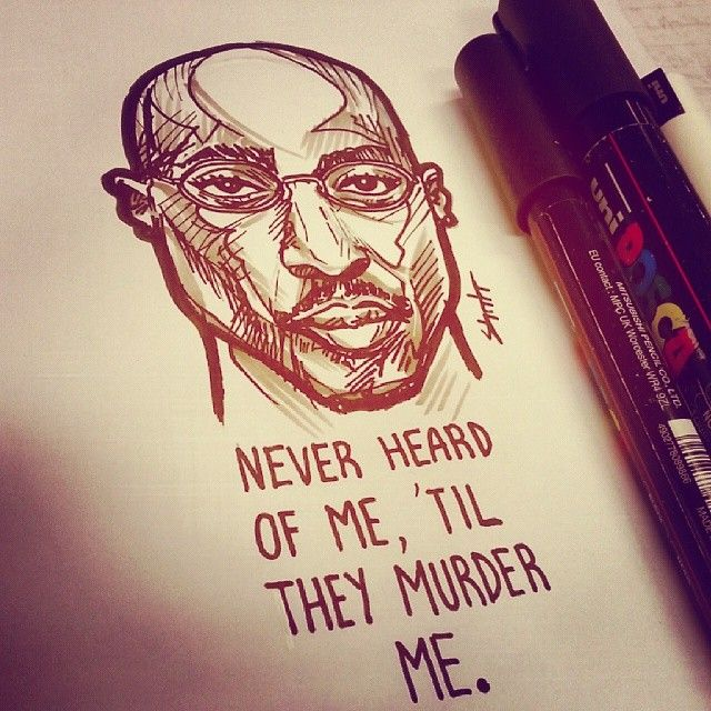 Runnin quote - 2pac. Art by Mark Bernard