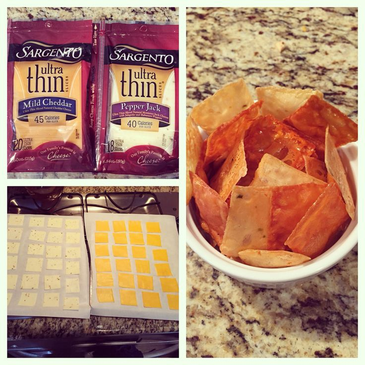 """""""Cheese Chips"""" Cut each slice of ultra thin cheese into 4 pieces. Put on parchment paper for 35 minutes on 250 degrees. They taste heavenly!! THM S."""