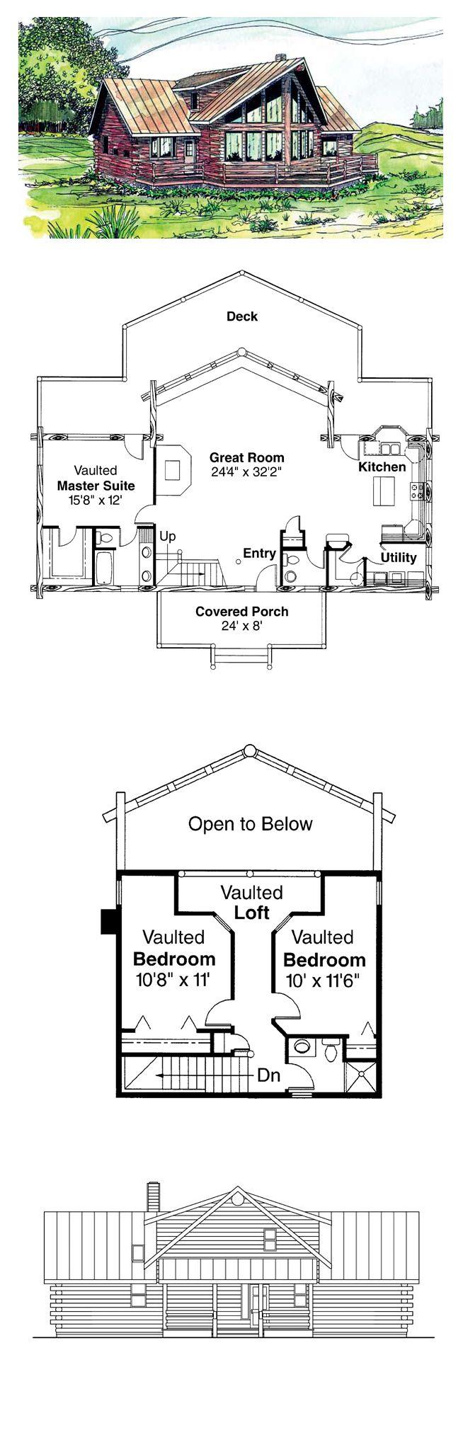 Log Cabin Style COOL House Plan ID: chp-20178 | Total Living Area: 1987 sq. ft., 3 bedrooms  2.5 bathrooms. #houseplan #logcabinplan