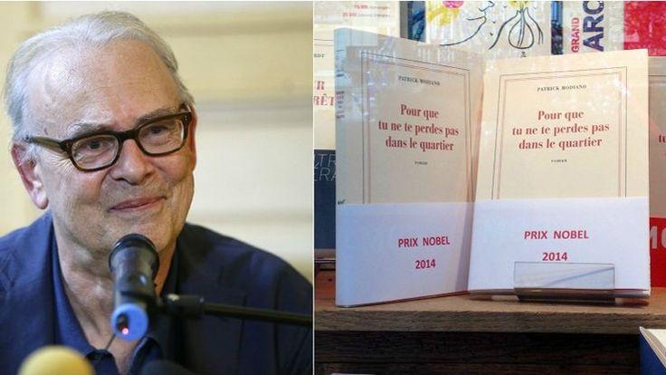 Surpris et heureux, Patrick Modiano vient d'apprendre qu'il a obtenu le Prix Nobel de littérature. À droite, la librairie Delamain, à Paris, a fabriqué à la hâte des bandeaux «Prix Nobel 2014».