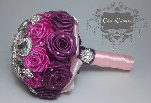 Ombre rózsacsokor kristályokkal