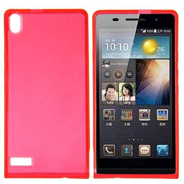 Rood / transparant TPU hoesje voor Huawei Ascend P6