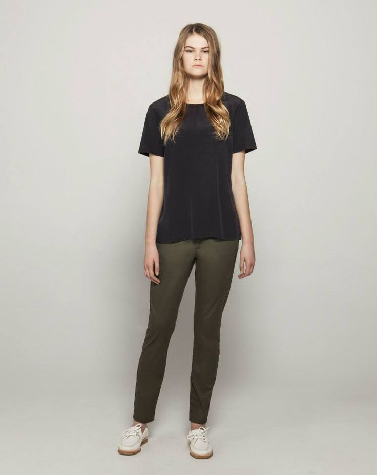 Silk Front Cotton Modal T (Ink) Stretch Twill Tailored Chinos (Khaki)