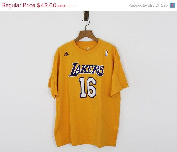 ON SALE Los Angeles Lakers T shirt / Gasol Lakers tee / Nba cotton T shirt / size L-Xl