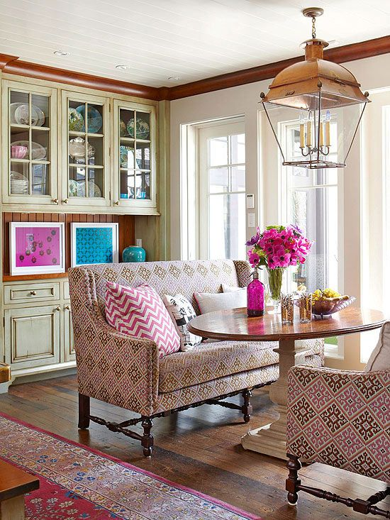 Should I choose a lantern for my breakfast room, like this gorgeous copper design that's in a room by Liz Levin?