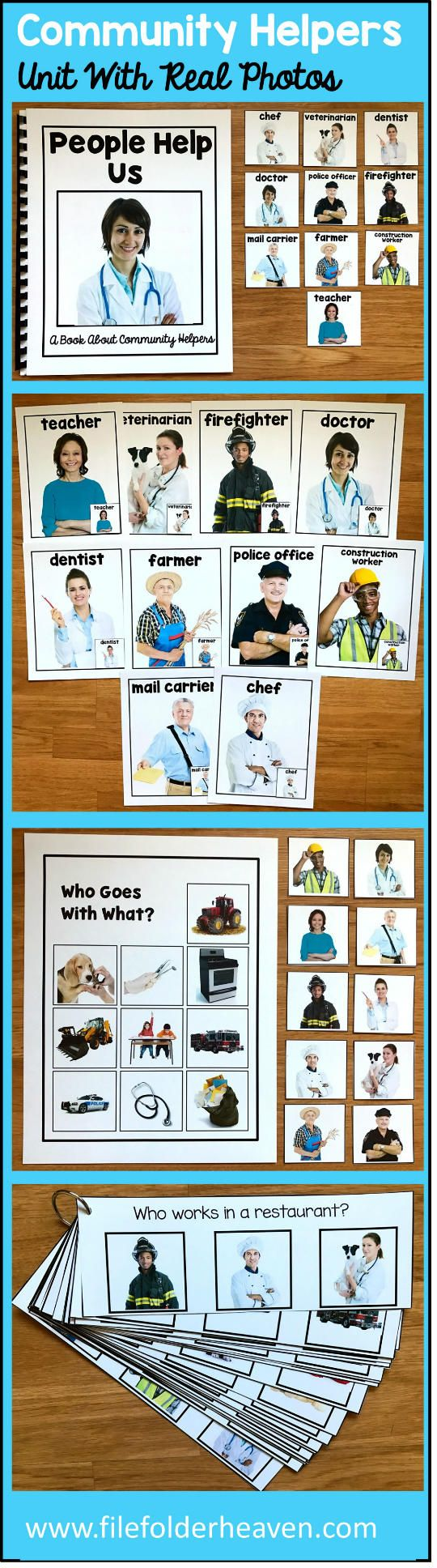 """This Community Helpers Unit w/Real Photos is packed full of hands-on activities for your community helpers theme. Activities Included With This Community Helpers Unit: 1. Adapted Book (Interactive Book) w/ interactive matching pieces 2. 1 Set of Interactive Bulletin Board Community Helpers Posters (10 total) 3. Who Goes With What Community Helpers Matching Mat 4 3 Sets of """"Big Flips"""" Matching Activities 5. 1 Set of Community Helpers WH-Questions"""