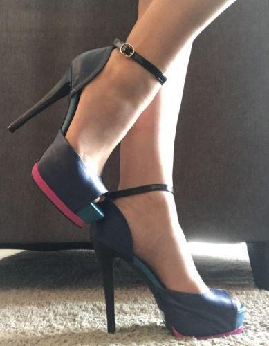 Qupid Blue Pink Teal Black Platform Peep-toe Ankle Strap Stripper Heels Size 8M