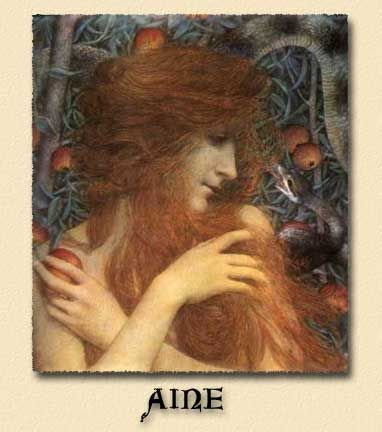 Aine is a beautiful fertility Goddess of ancient Ireland. She has been called the Faery Queen of Knockaine. Wherever she focused her attention Love flourished. Aine's Hill in County Kerry, was the site of glorious Midsummer celebrations in her honor.
