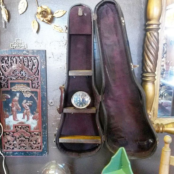 Super funky wall shelf from an old violin case. ..perfect for a shrine or to…