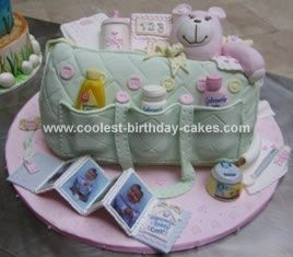 Homemade Diaper Bag Cake: This was a diaper bag cake that I entered into a local competition. It was a hand sculpted cake covered in rolled fondant. I hand molded all of the diaper