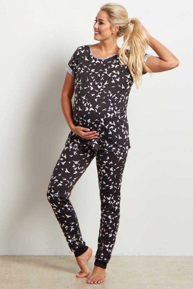 Black Bird Print Pajama Pant