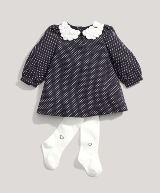 Girls Welcome To The World Polka Dot Dress & Tights Set