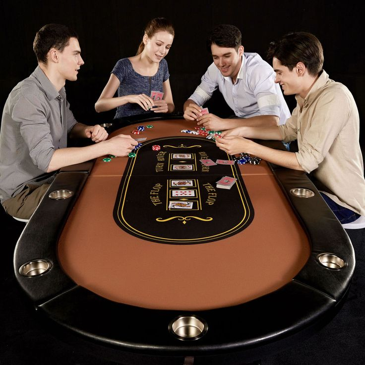 10 Player Poker Table Folding Texas Hold'em Blackjack Casino Cup Metal Legs