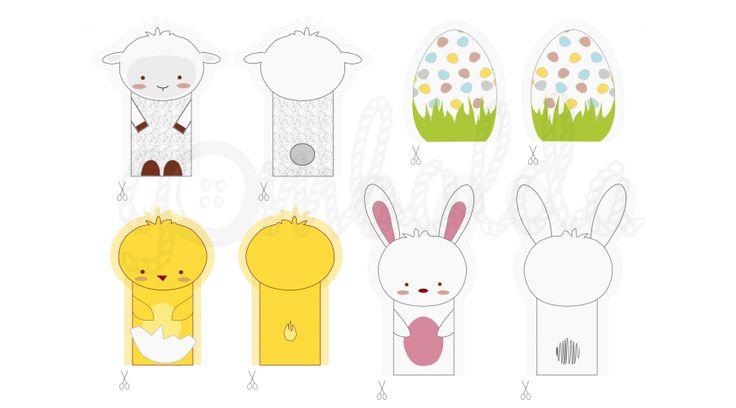 Mintás barkácsfilc - húsvéti ujjbábok - Húsvéti - tavaszi minták - Gombolda Webáruház