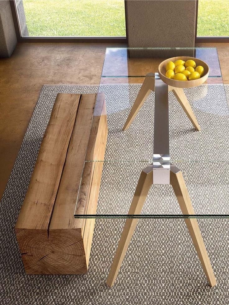 Extending rectangular wood and glass table DELTA - @pianca_design