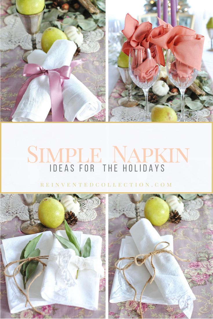 Four quick and easy napkin ideas for the holidays that are inexpensive.